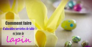 serviette de table en forme de lapin