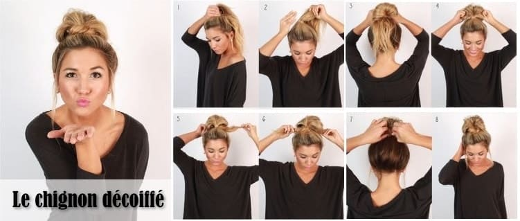 Tutoriel 6 coiffures styl es pour les matins press s - Chignon haut decoiffe ...