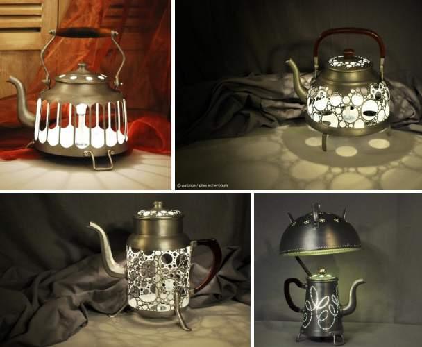 Lampes faites de théières