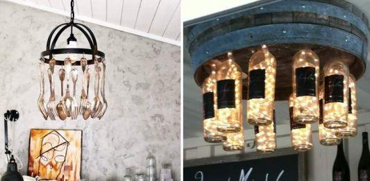 exemples de chandeliers faits d'ustensils et de bouteilles de vin