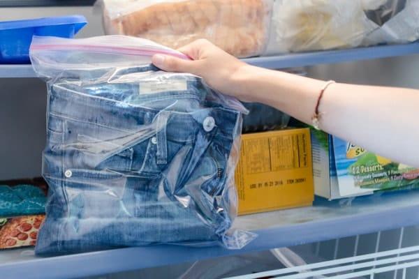 Mettre un jeans au congélateur