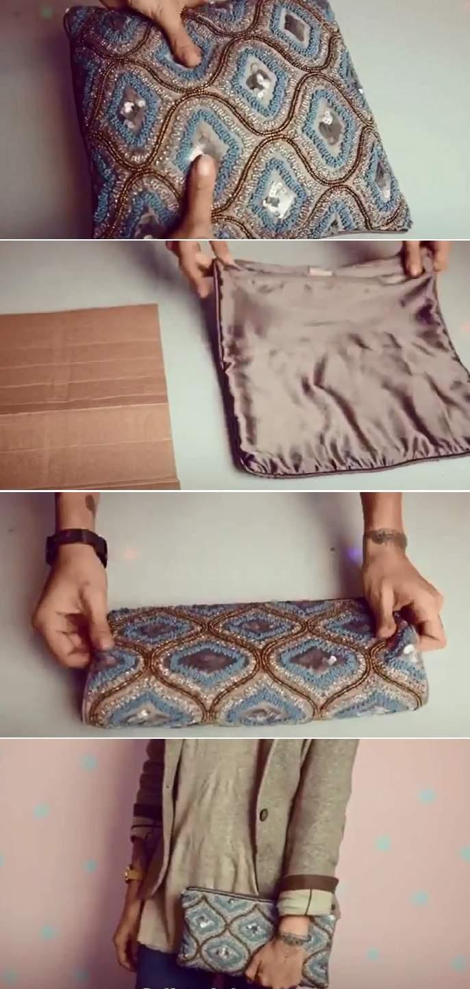 upcyclage housse de coussin en sac à main